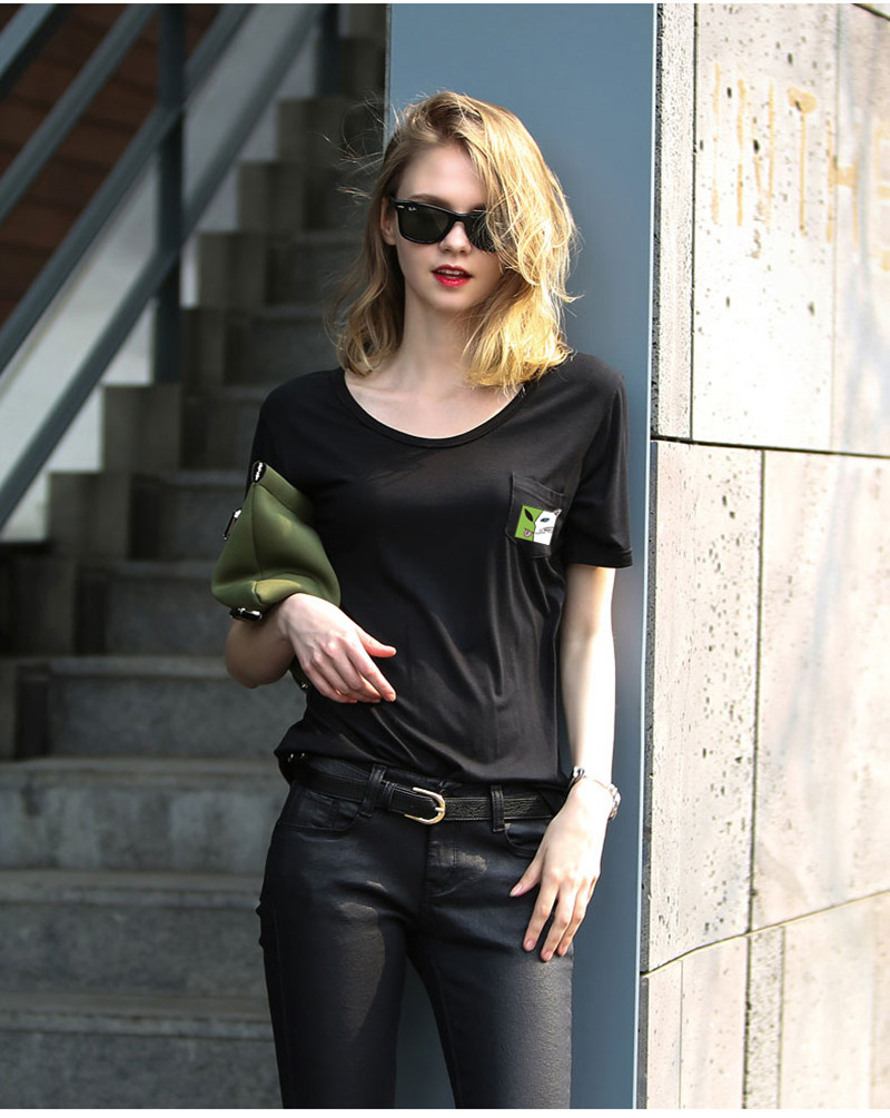 Black t shirt style - 2016 Newest F1700 Summer Style White Black Tshirt Women Cat And Alien Print T Shirt