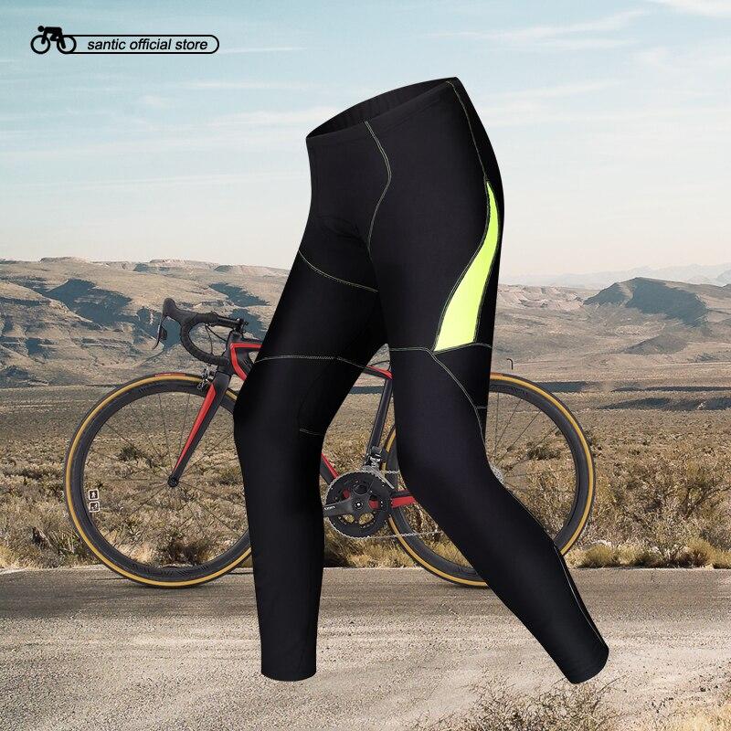 Santic Men Cycling Padded Pants Fleece Winter 4D Cushion Pad Reflective Cycling Pants Keep Warm Asian S-3XL MC04027 цена