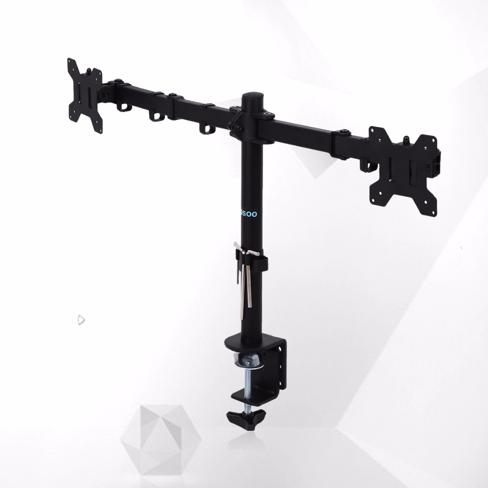 13-27 Dual Arm Monitor LED LCD Screen VESA Display Bracket Stand Desk Mount