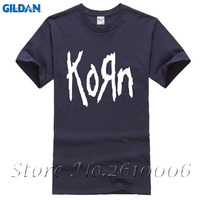 Free Shipping Mens T Shirts Fashion Korn Metal Rock Band Logo Graphic T Shirt Cotton O