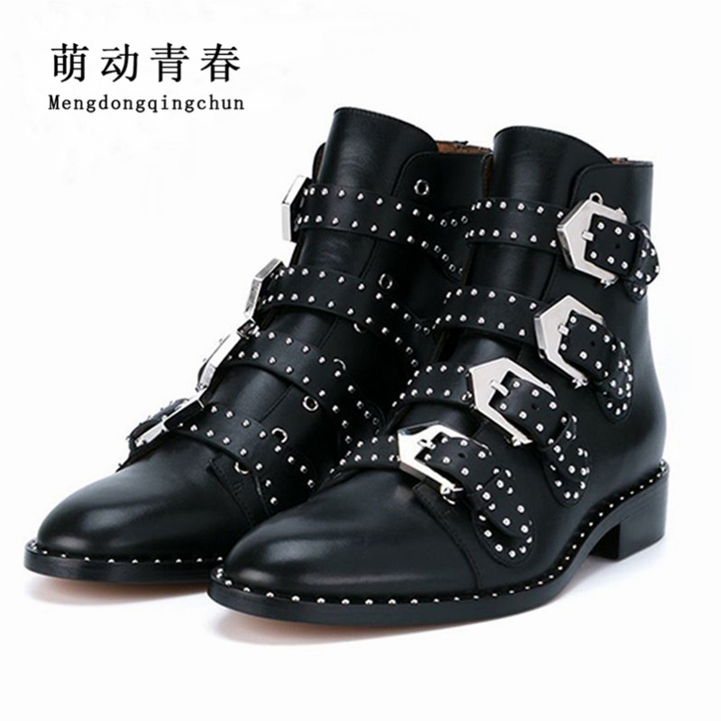 2017 Genuine Leather Ankle Boots Women Shoes Women Suede Pointed Motorcycle Snow Boots Designer Woman Flats Punk Botas Feminios taoffen genuine leather motorcycle boots biker shoes women suede pointed snow boots brand shoe famous designer woman flats punk