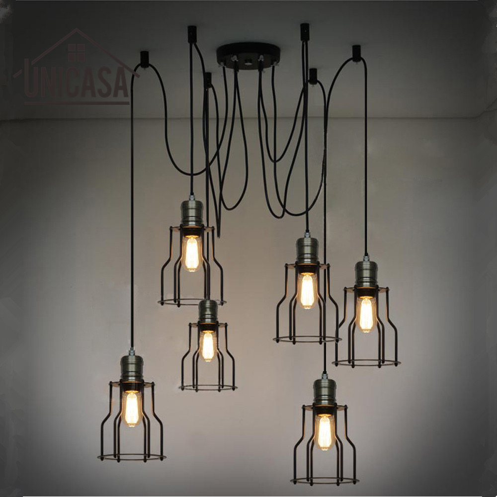 Industriependelleuchten schwarze eisen große beleuchtung bar büro wohnzimmer küche insel led licht antike anhänger deckenleuchte