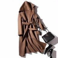 Женское шерстяное пальто с тонким поясом 85% шерсть 15% кашемир с капюшоном дизайн однотонный ремень высокое качество тонкое пальто английски