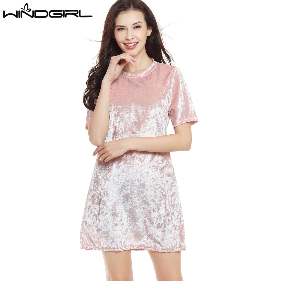 WINDGIR velvet dress women short sleeve warm spring autumn ...