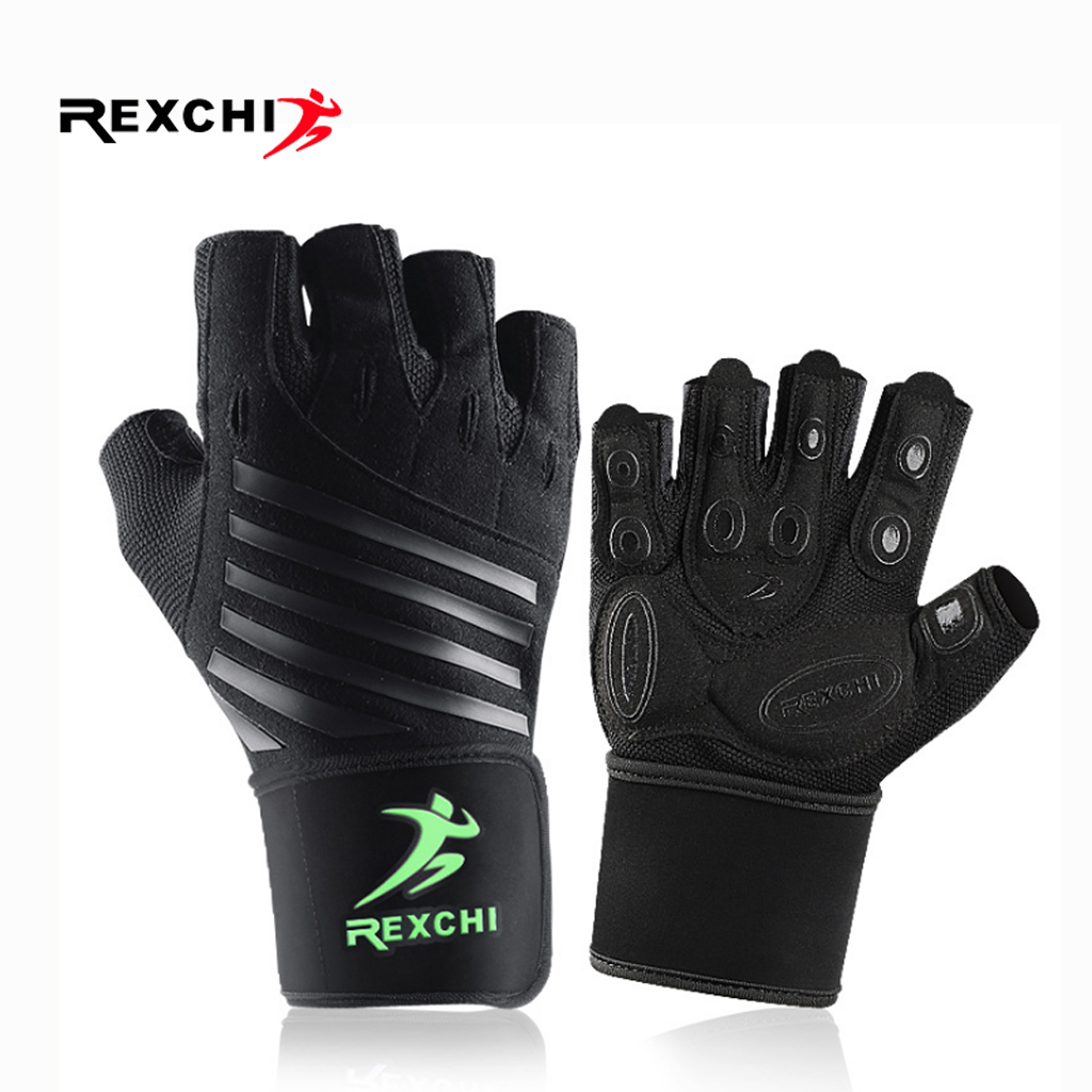 REXCHI Gym Fitness Half Finger Gloves With Wrist Wrap Support Men Women Crossfit Workout Gloves Power Weight Lifting Equipment