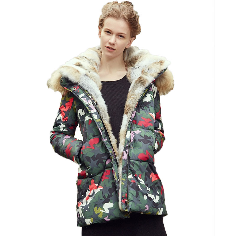 Chaud Fourrure Raton De Haute Vêtements Long Veste W71 Canard Laveur Duvet Parka Hiver Femelle Épaississement Femmes Qualité Manteau Collier 2018 Camouflage Zwxq6PSUP