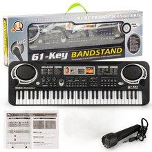 61 клавиша музыкальная электронная цифровая клавиатура электрический орган дети большие подарки с микрофоном музыкальный инструмент высокое качество