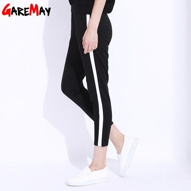 Striped Harem Pants Capri Women Elastic High Waist Casual Pants Black Trousers Female Loose Pencil Pant Femme Sweatpants Women