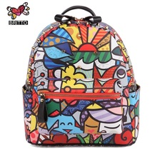 Wild New Fashion 3D Satin Printing Casual Backpack Bags Graffiti Sprayed Pictures Hot Sale Student Package for Women Men & Girl