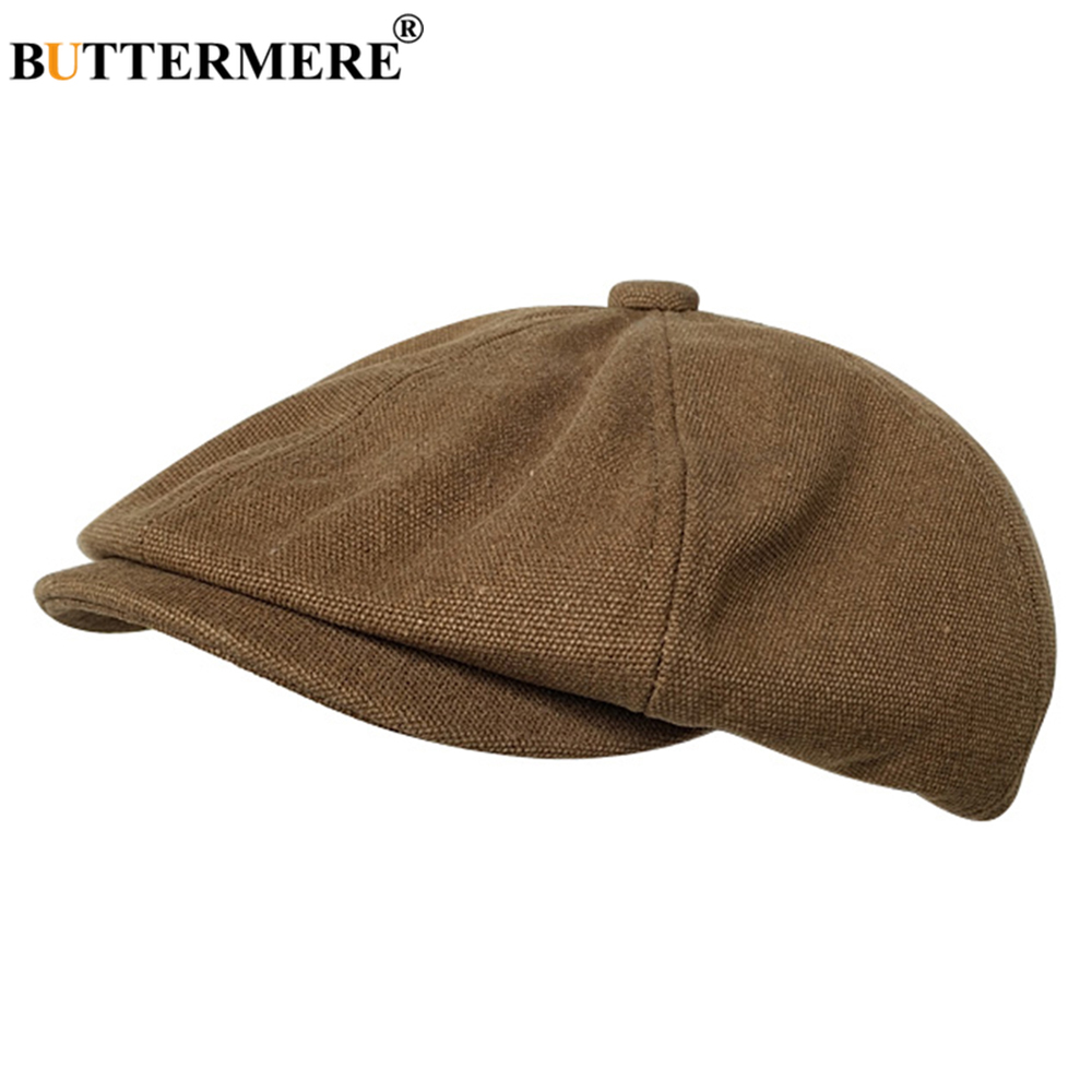 BUTTERMERE Vintage Newsboy Hats Men Cotton Camel Octagonal Cap Flat Male Solid Brand Painter Vintage Autumn Beret Hats And Caps in Men 39 s Fedoras from Apparel Accessories