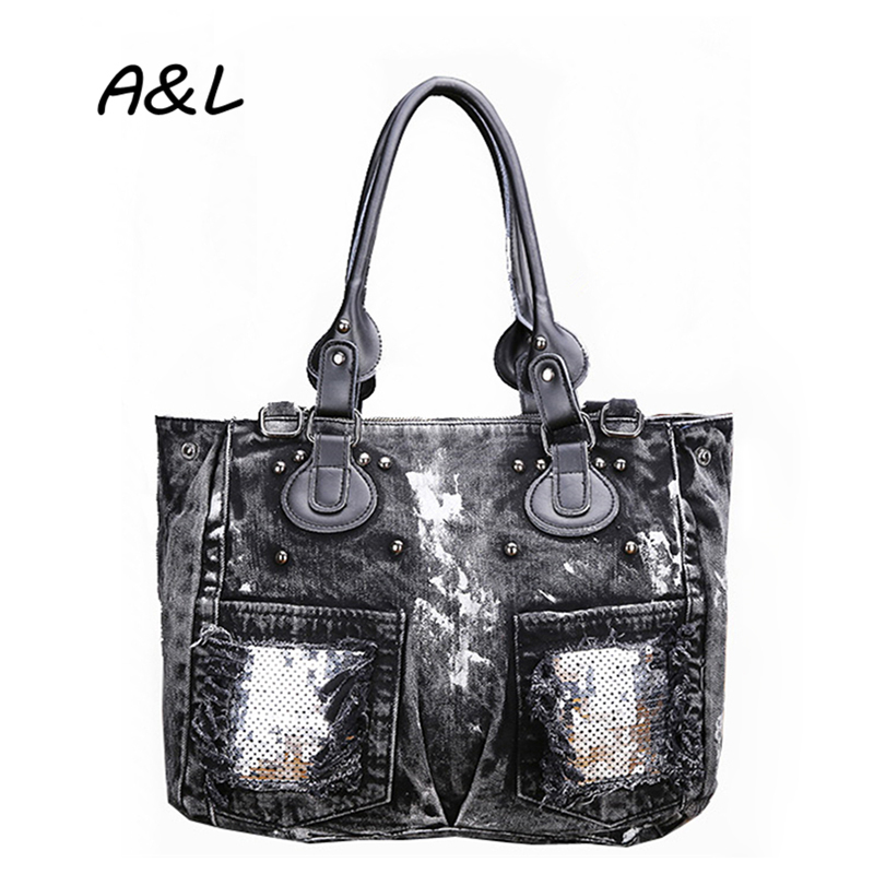 Korean Retro Women Handbag Fashion Joker Denim Shoulder Bag Lady Vintage Casual Jeans Tote Leisure Sequins Messenger Bags A0131 popular handbag women simple shoulder bag vintage hand bag retro korean style 3 classic color satchel bag leisure locomotive bag