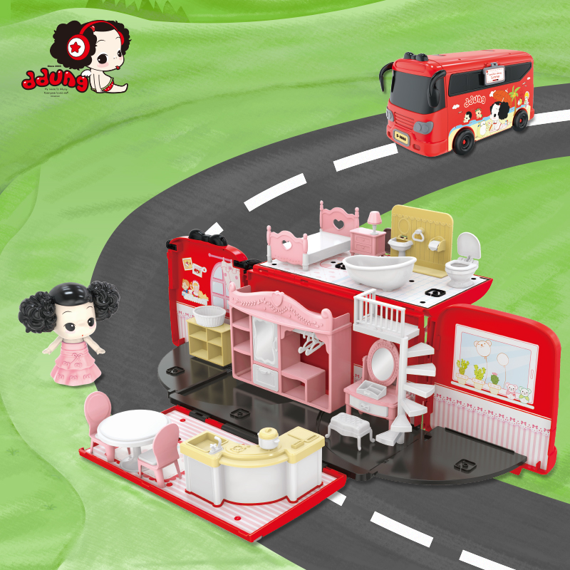 NEW ARRIVED Ddung Bus Doll House Set Pretend Play Early Education Toys Gift For New YearNEW ARRIVED Ddung Bus Doll House Set Pretend Play Early Education Toys Gift For New Year