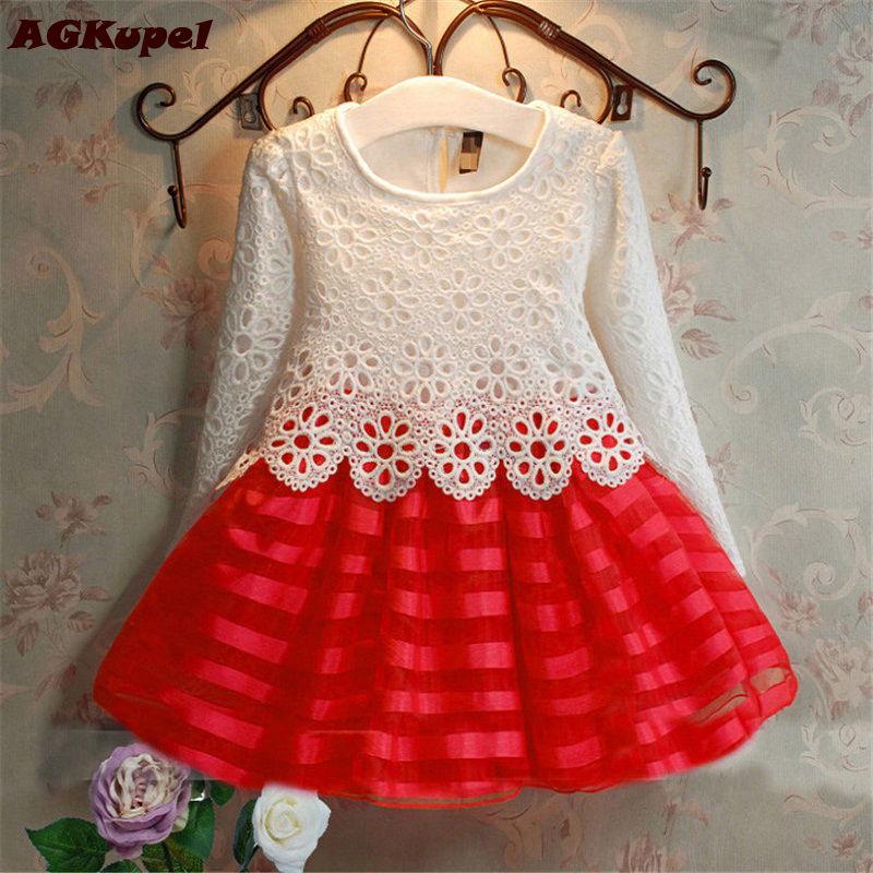 2017 3-8Y Toddler Baby Girls Kids Tutu Crochet Lace Dress Long Sleeve Princess Dress Girls Clothes Autumn Children Wedding Dress
