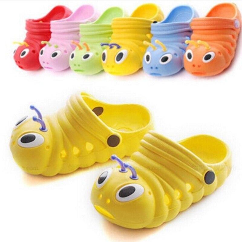 New 2016 Kids Cute caterpillar garden shoes summer sandals Child boys and girls baby sandals indoor slippers slip Bebe Sapatos