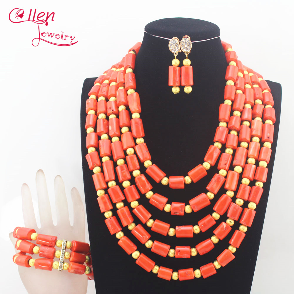 Scarce nigerian Wedding beads bridal Big Coral beaded necklace Jewelry Set African Coral beads Jewelry Set N0076 цена
