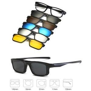Image 2 - KJDCHD (5 objektiv) clip auf Sonnenbrille Männer Frauen Magnetische polarisierte + gespiegelt Sonne Gläser für myopie tag Nacht Fahren TR90 rahmen