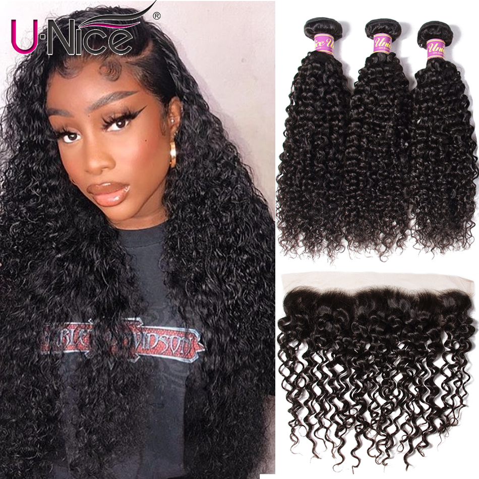 UNice Hair Icenu Remy Hair Series Curly Brazilian Hair Weave Bundles With Lace Frontal 4 PCS