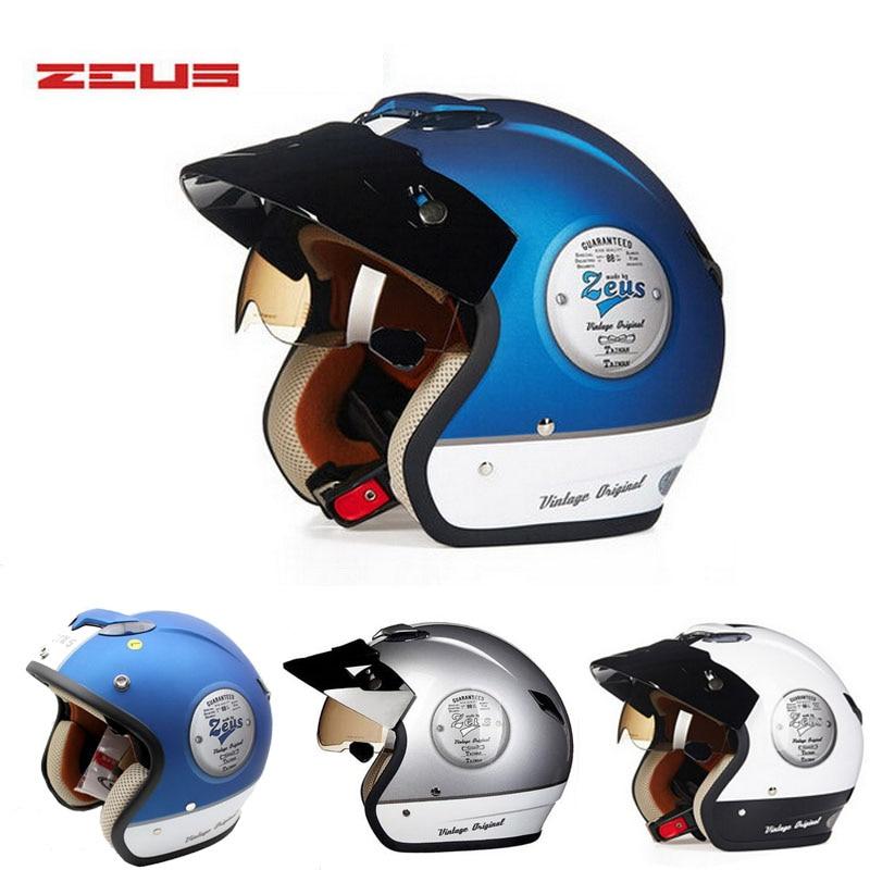 brand DOT blue white ZEUS Vintage motocross motorcycle helmet ZS-381c open face motorbike helmets bike scooter 9 colors