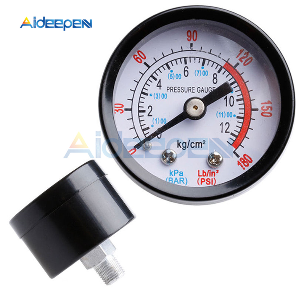 Bar Air Pressure Gauge 1/8 BSP Thread 0-180 PSI 0-12 Manometer Double Scale For Air Compressor Iron Diameter About 40mm