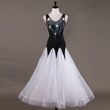 Shiny Diamond Standard Ballroom Dance Dress For Adult Woman Modern Dance Competition Costume Waltz Tango Luminous Dress DL2126