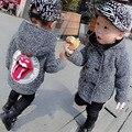 Los niños de invierno chaquetas niños espesar terciopelo doble botonadura abrigo de lana para niños de lana de algodón con capucha bebé clothing chica caliente