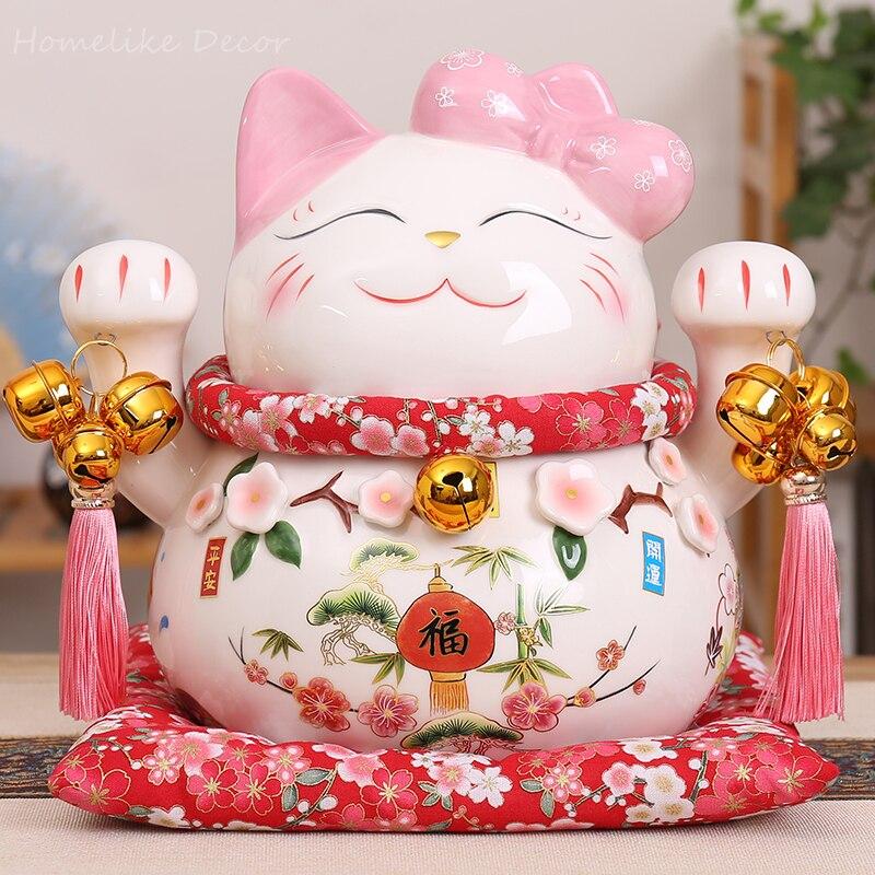 1pc Cartoon Maneki Neko Ceramic Lucky Cat Ornament Pink BOW TIE Fortune Cat Statue Home Decorative