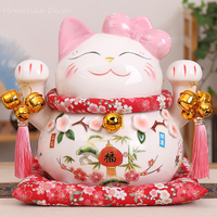 1pc Cartoon Maneki Neko Ceramic Lucky Cat Ornament Pink BOW TIE Fortune Cat Statue Home Decorative Figurine