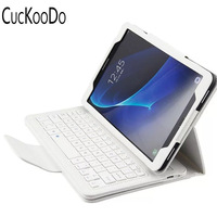CucKooDo Folio Cover Case with Slim Magnetically Detachable Bluetooth Keyboard for Galaxy Tab A 10.1 SM T580 SM T585 tablet