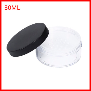 30ml Plastic Clear Reusable Empty Loose Powder Box Makeup Cosmetic Container Cosmetic Jar Travel Pot With Black Cap 200pcs/lot