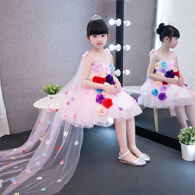 New Korean Sweet Children Girls Cute Pink Princess Dress With Flowers Decoration Summer Kids Sleeveless Birthday Wedding Dress