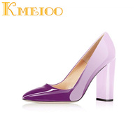 Kmeioo Women's Sexy Patent Leather Pointed Toe Block Heels Pumps Gorgeous Evening Party Stiletto Shoes