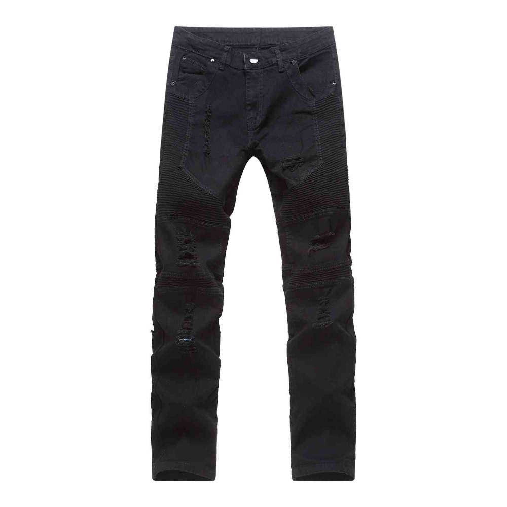 #1957 2016 Black biker jeans men Fashion Distressed jeans Skinny Motorcycle Joggers Hip hop Ripped jeans for men Brand clothing