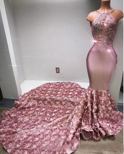 Lace Pink Long   Prom     Dresses   Halter Sexy Back Rose Flower Sweep Train Appliques Beaded Sequined Mermaid Evening   Dress