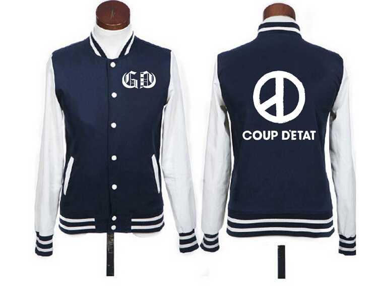 cb8595ba KPOP BIGBANG GD G-Dragon переворота печати куртка с капюшоном модное  однобортное Бейсбольные куртки любителей спортивный костюм