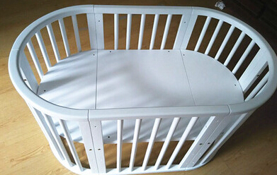 Solid Wood Multi-function Baby Bed. No Paint Elliptic Bed.. High-grade Baby Bed