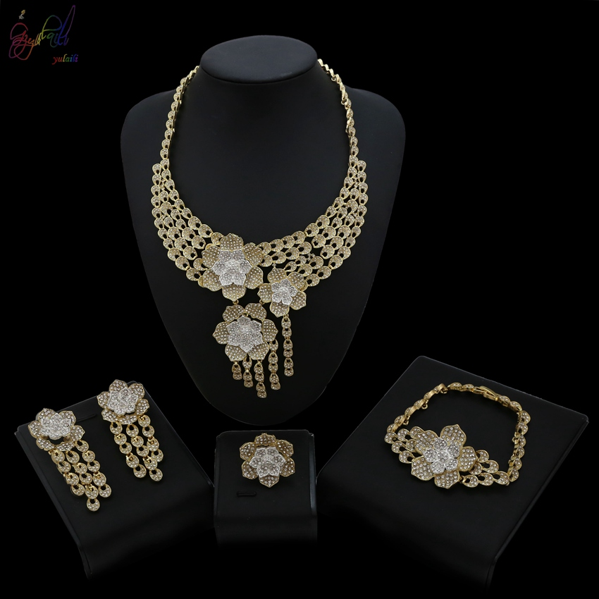 YULAILI New Cubic Zirconia Bridal Jewelry Set African Wedding Necklace Bracelet Earring Ring Party Costume Accessories yulaili new coming pure yellow flower bridal wedding jewelry set nigerian ladies party wedding accessories