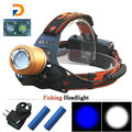 2x Cree q5 LED Bulbs Zoomable Led Headlight White and Blue Zoom LED Headlamp Lantern Rechargeable 18650 Bike Hunting Head Lamp