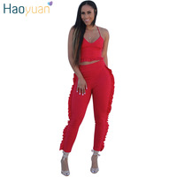 HAOYUAN Sexy Two Piece Set Spaghetti Strap Crop Tops And Pants 2018 New Summer Outfits Sweat