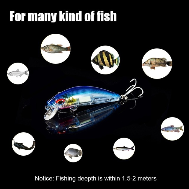 2PCS/Lot 70MM Luminous Artificial Hard Fishing Lure with 2 Treble Hooks Fake Minow Lead Fish Baits 3D Lures for Bass Pike Carp