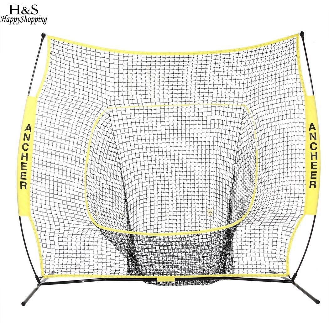 Portable Softball Formation Net 7 x 7ft Baseball Softball Pratique Net avec Durable Arc Cadre de Transport Compact Sac Sports de Plein Air