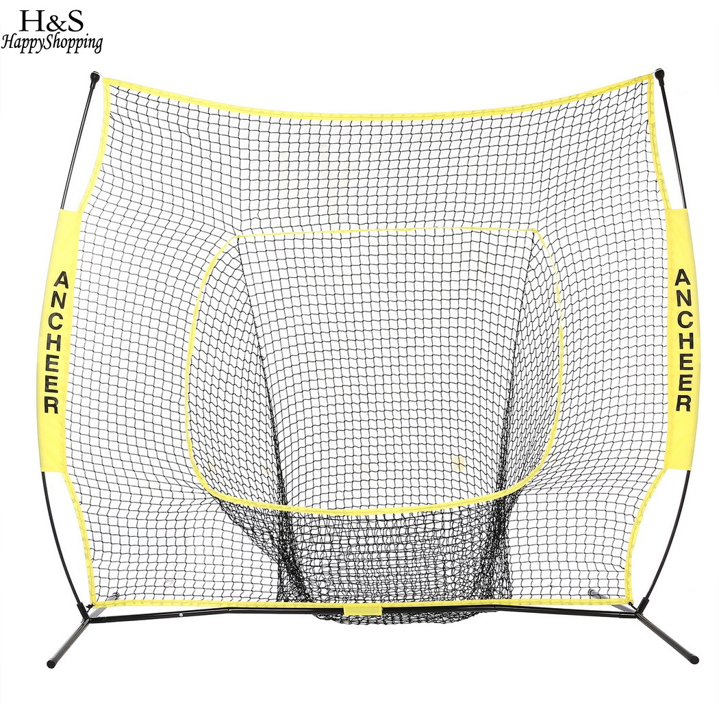 Portable Softball Training Net 7 x 7ft Baseball Softball Practice Net with Durable Bow Frame Compact Carrying Bag Outdoor Sports hockey net travel portable lacrosse pop up lax net for backyard shooting collapsible outdoor sport training foldable hockey goal