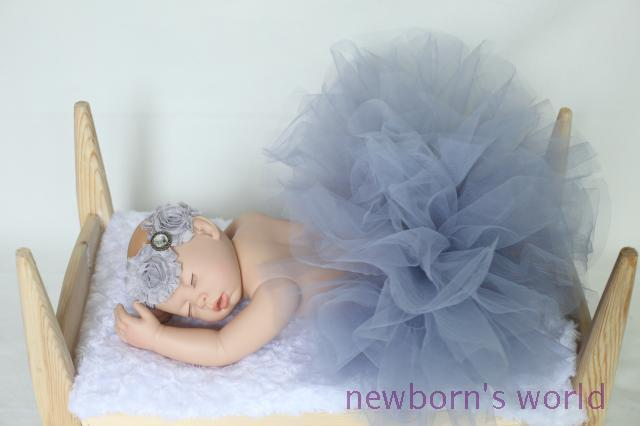gray headband+tutu skirt set,newborn infant Baby photography props Pink Tutu- Girls Tutu- Baby - fits to 0-24 Months1647