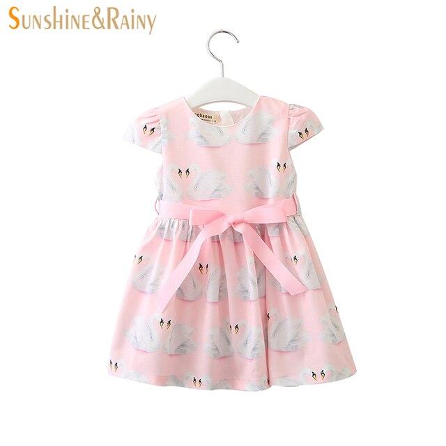 da8dc7442636 Sunshine   Rainy 2018 Summer Girls Dresses Swan Print Bow Lace up ...