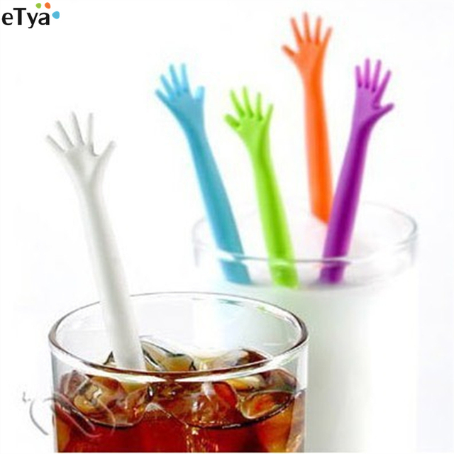 5Pcs/Set High Five HELP ME Coffee Stirrer Stirring Rod Juices Spoon Bar Rabble Rods Drink Stirre Coffee Stir Stick Tools