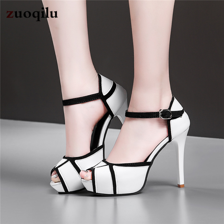 2019 New Peep Toe Platform High Heels Pumps Shoes Woman High Heel Ladies Shoes+female Black White Office Shoes Women