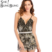 0e7fdaaa36b SheBlingBling New Summer Fahsion Women Club V Neck Sexy Backless Playsuit  Party Jumpsuit Romper Sequin Lace Up Strap Bodysuit