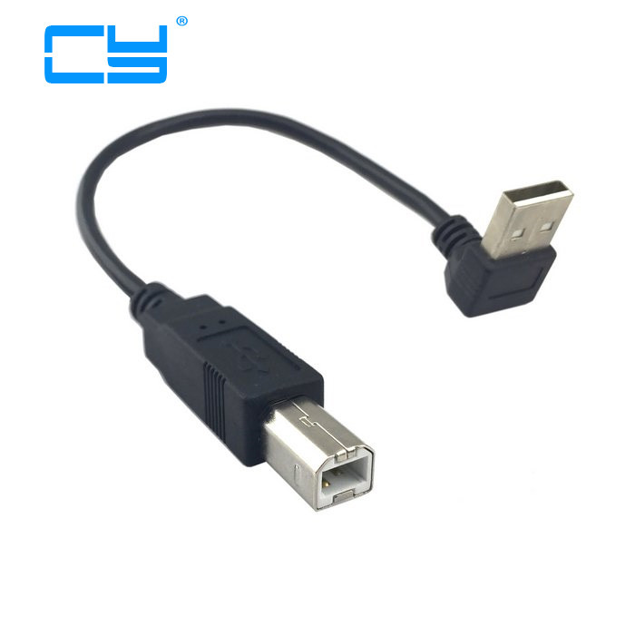Up & Down Angled 90 Degree USB 2.0 Male To B Type Male Cable For Printer Scanner Hard Disk 20cm