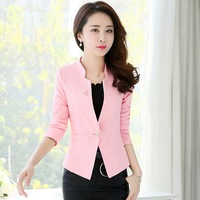 New Women Slim Blazer Coat Fashion Casual Long Sleeve One Button Suit Large Size Work Wear