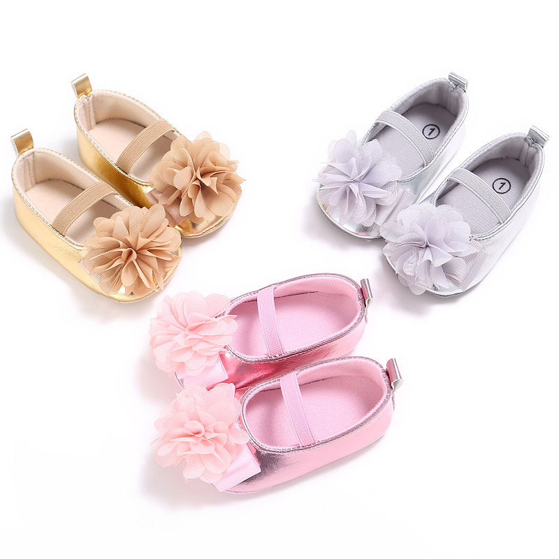 New-PU-Leather-Golden-Silver-Pink-Newborn-Baby-Kid-Prewalkers-Shoes-Princess-Girl-Mary-Jane-Big-Flower-Soft-Soled-Anti-slip-Shoe-1