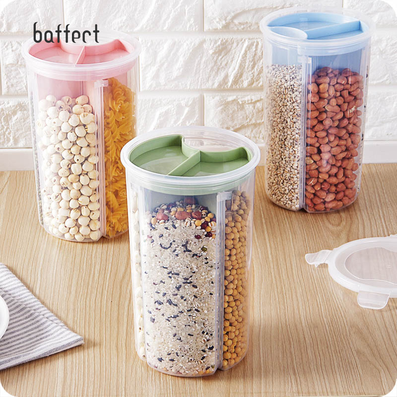 US $10.59 47% OFF 3 In 1 Transparent Sealed Cans Kitchen Sealed Jars  Plastic Storage Bottles Storage Box for Food Cereals Grain Sealed  Container-in ...